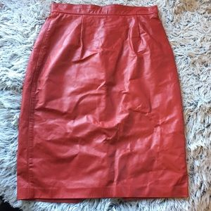 Vintage red leather pencil skirt made in CA